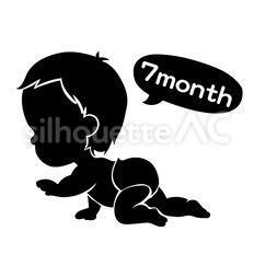 赤ちゃんのシルエットイラスト