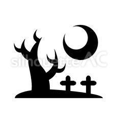 墓地のシルエットイラスト