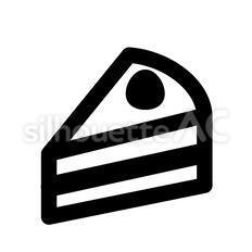 ショートケーキのシルエットイラスト