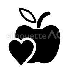 林檎とハートマーク
