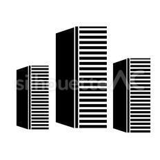 超高層ビルのシルエットイラスト