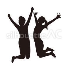 ジャンプする2人のシルエットイラスト