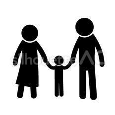 家族のシルエットイラスト
