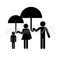 傘をさすのシルエットイラスト