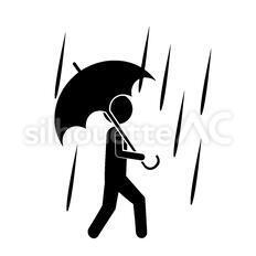 雨のシルエットイラスト