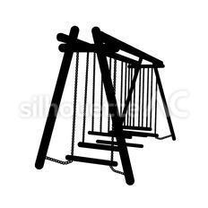 吊り丸太のシルエットイラスト