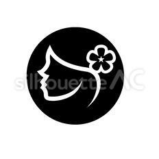 花飾りを付けた女性のシルエットイラスト