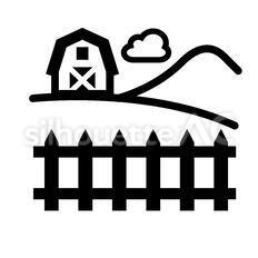 牧場のシルエットイラスト