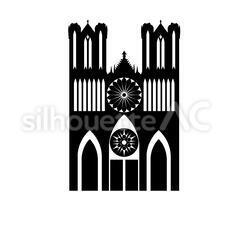 ノートルダム大聖堂のシルエットイラスト
