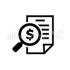 金融書類のシルエットイラスト