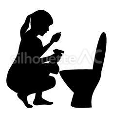 トイレ掃除のシルエットイラスト