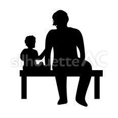 並んで座る親子