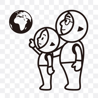 Parent and child looking at the earth