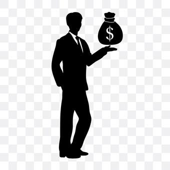 Money bags and men