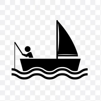 Yacht and angler