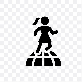 A woman running in the world