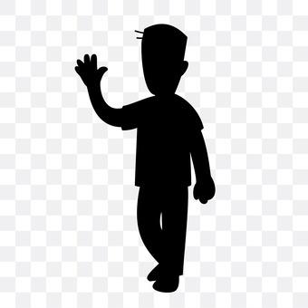 A man raising one hand