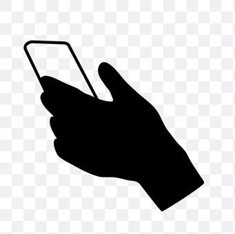 左手与智能手机