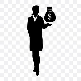 Cash bag and female