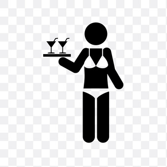 Clerk carrying a drink