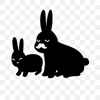 家长和孩子的兔子