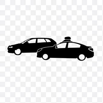 Accident vehicles and police cars
