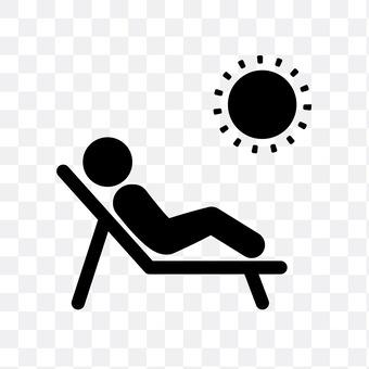 A sunbathing person