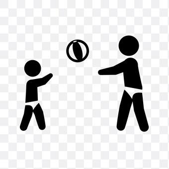 沙滩排球在父母子女