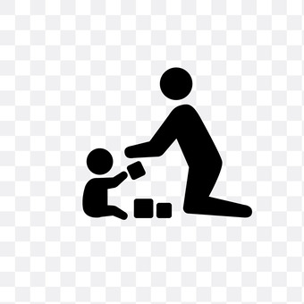 Parent and child playing with building blocks