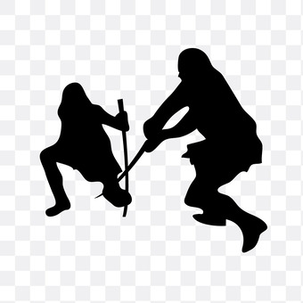 Two people fighting