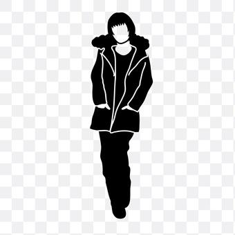 女人穿著大衣