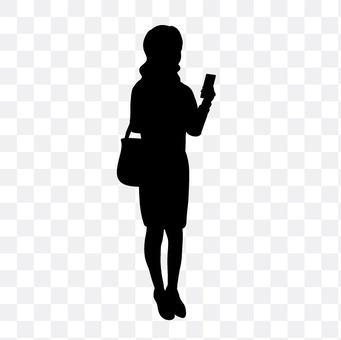 女人看到智能手机