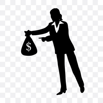 A woman giving a cash bag