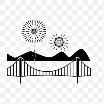 Ferris wheel and bridge