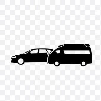 Accident cars and ambulances