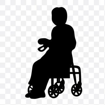 Person sitting on a wheelbarrow