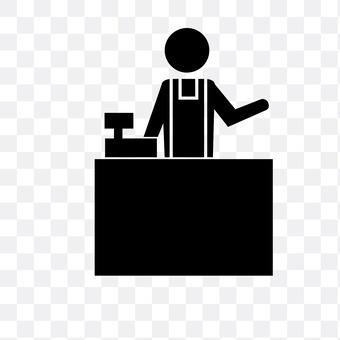 A convenience store clerk