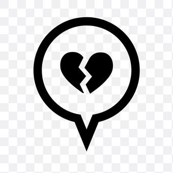 Speech balloon (broken heart)