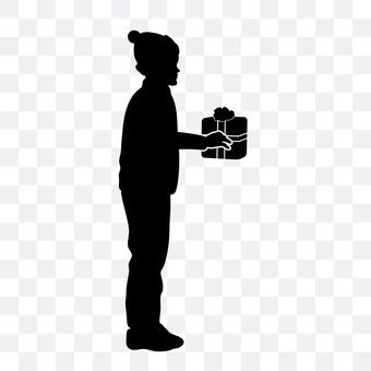 A boy with a present