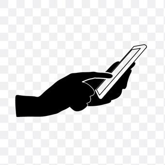 右手手指到智能手机操作
