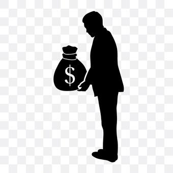 A man with a cash bag